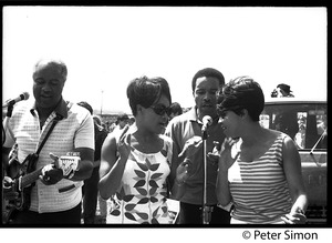 Thumbnail of Staple Singers performing at the Newport Folk Festival L. to r.: Pops, Cleotha, Pervis, and Mavis Staples