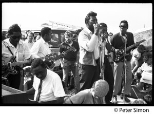 Thumbnail of Muddy Waters Blues Band performing at the Newport Folk Festival L. to r.: Francis Clay (bass), Oris Spann (piano), Sammy Lawhorn, Muddy             Waters, Mojo Buford (harmonica), and Luther 'Georgia Boy' Johnson (guitar)