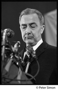 Thumbnail of Presidential candidate Eugene McCarthy behind a bank of microphones while giving a speech at Boston University