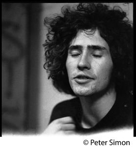 Thumbnail of Tim Buckley backstage, probably at the Unicorn Coffee House Portrait with eyes losed, facing the camera