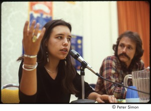 Thumbnail of MUSE concert and rally: Winona LaDuke answering a question at a press conference while Jesse Colin Young looks on