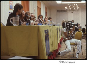 Thumbnail of MUSE concert and rally: press conference with (l-r) Graham Nash, David Crosby, Stephen Stills, obscured man, Winona LaDuke, Jesse Colin Young, Sam Lovejoy, Harvey Wasserman
