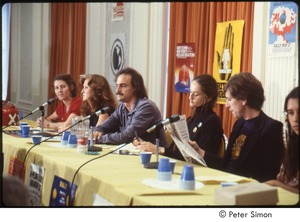 Thumbnail of MUSE concert and rally: press conference with (l-r) unidentified woman, Bonnie Raitt, James Taylor, unidentified woman, Graham Nash, and Winona LaDuke