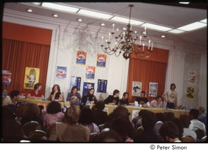 Thumbnail of MUSE concert and rally: press conference with (l-r) unidentified woman, Bonnie Raitt, James Taylor, unidentified woman, Graham Nash, and Winona LaDuke, John Hall, Sam Lovejoy, and Harvey Wasserman