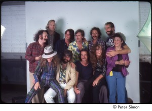 Thumbnail of MUSE concert and rally: publicity shoot, (standing, l-r) David Crosby, Stephen Stills, Jackson Browne, Graham Nash, Jesse Colin Young, John Hall, Phoebe Snow (seated) Carly Simon, Michael McDonald, James Taylor, Bonnie Raitt