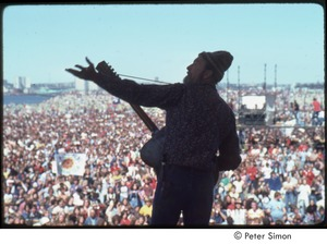 Thumbnail of MUSE concert and rally: Pete Seeger playing for crowd at No Nukes rally
