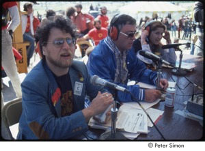 Thumbnail of MUSE concert and rally: Danny Schechter (l) with two unidentified journalists