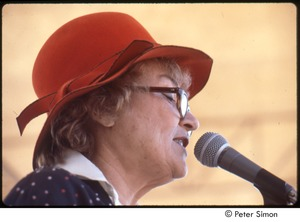 Thumbnail of MUSE concert and rally: Bella Abzug in red hat speaking at the No Nukes rally