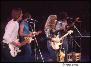 Thumbnail of MUSE concert and rally: (from left) Jackson Browne, John Hall, Bonnie Raitt, and Freebo performing at the MUSE concert