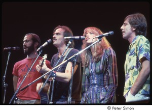 Thumbnail of MUSE concert and rally: (from left) John Hall, James Taylor, Carly Simon, Graham Nash performing at the MUSE concert