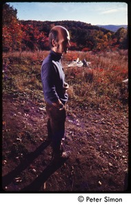 Thumbnail of Portrait of an unidentified man, standing in a field, Tree Frog Farm commune