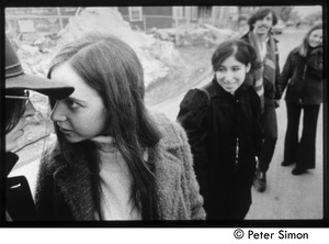 Thumbnail of 'Fambly friends day-tripping in Cambridge' (l. to r.) Ed Siegel (partially obscured), Marcia Braun, Elliot Blinder, unidentified woman