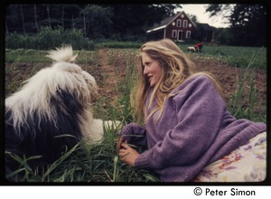 Thumbnail of Woman and English sheep dog, Tree Frog Farm commune