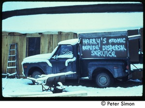Thumbnail of Truck in the snow: 'Harry's atomic refuse dispersal service,' Tree Frog Farm commune