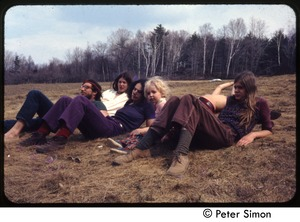 Thumbnail of Group lounging on the grass at May Day, Tree Frog Farm commune