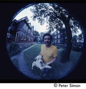Thumbnail of Harry Saxman and dog (seen through a fish eye lens)