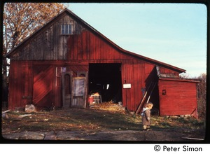 Thumbnail of Child walking past the barn, Packer Corners commune