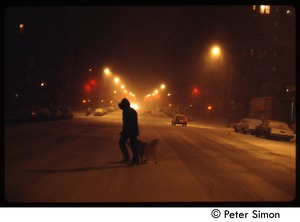 Thumbnail of Street scene, New York City (?),  in heavy snow Man and dog crossing the street