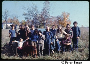 Thumbnail of Commune members gathered, Tree Frog Farm Commune Includes Catherine Blinder, Elliot Blinder, Harry Saxman from Tree Frog Farm, Verandah             Porche and Richard Wizansky from Packer Corners, and others