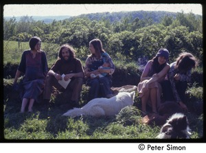 Thumbnail of Gathering of people, Tree Frog Farm Commune Catherine and Elliot Blinder at far left