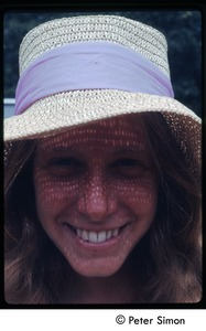 Thumbnail of Lacey Mason in a straw hat (close-up), Tree Frog Farm Commune