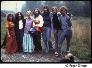 Thumbnail of Commune friends, Tree Frog Farm Commune Group includes Marcia Braun (2d from left), Sol Braun (4th from left), and             Peter Simon (far right)