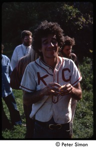 Thumbnail of Peter Gould in Kansas City Monarchs baseball jersey, Tree Frog Farm Commune