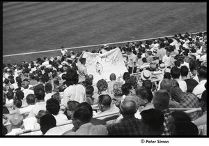 Thumbnail of Mets at Shea Stadium: sign in stands reading 'Never Fear' with a drawing of Mr. Met in the background