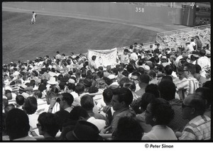 Thumbnail of Mets at Shea Stadium: sign in stands reading 'Never Fear' with a drawing of Mr. Met