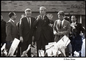 Thumbnail of Robert Kennedy and Kenneth Keating campaigning in Riverdale: unidentified man speaking with Robert Kennedy (r)