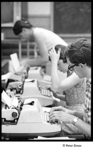 National Student Association Congress: delegates at a row of typewriters