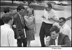 Thumbnail of National Student Association Congress: group laughing, Sam Brown (bottom left), Edward Schwartz (seated, front) and Allard Lowenstein (seated, back)