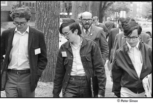 Thumbnail of United States Student Press Association Congress: (l-r) Alex Jack, Raymond Mungo, unidentified man, and Ed Siegel walking outside