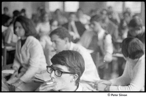 Thumbnail of United States Student Press Association Congress: man smoking among group listening to speaker