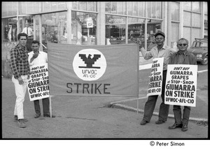 Thumbnail of UFOWC grape pickers strike at Stop and Shop: protestors holding banner and signs