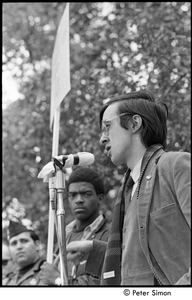Thumbnail of Resistance rally: Raymond Mungo speaking at rally on Boston Common