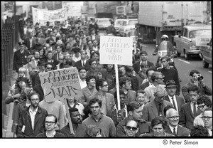 Thumbnail of Resistance rally: demonstrators walking down Boylston Street, two signs in crowd reading 'Afro Americans against the War'