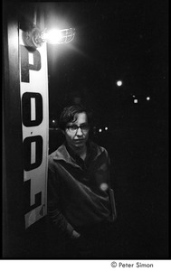 Thumbnail of Tim Buckley at the Catacombs: Ed Siegel leaning on 'pool' sign