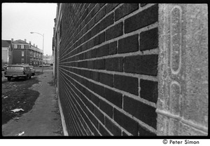 Thumbnail of View with brick wall down Harvard Street, Cambridge, near intersection with Pine         Street