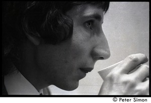 Thumbnail of Pete Townshend: close-up portrait drinking from a styrofoam cup