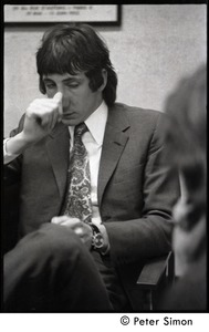 Thumbnail of Pete Townshend: seated for an interview, looking exhausted