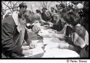 Thumbnail of Resistance on the Boston Common: man registering at the Resistance table