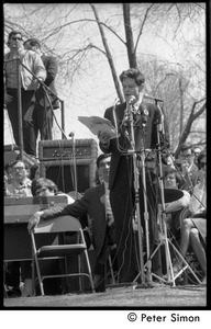 Thumbnail of Resistance on the Boston Common: Staughton Lynd addressing the crowd; Howard             Zinn on stage behind