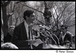 Thumbnail of Resistance on the Boston Common: Howard Zinn grinning while addressing the crowd