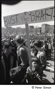Thumbnail of Resistance on the Boston Common: young boy holding a sign reading 'Bust the         draft'