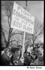 Thumbnail of Resistance on the Boston Common: counter-protester (Polish Freedom             Fighters Inc.) carrying sign reading 'Fight Communism or die a red slave'