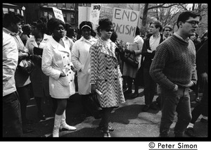 Thumbnail of Marchers commemorating Martin Luther King, Boston Common, Boston Common, carrying sign reading 'End racism'