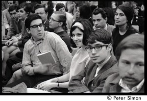 Thumbnail of Young couple in crowd awaiting speech by presidential candidate Eugene McCarthy at Boston             University