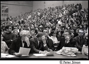 Thumbnail of Press corps and audience awaiting speech by presidential candidate Eugene McCarthy at Boston             University