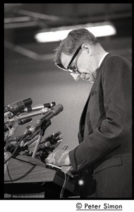 Thumbnail of John Kenneth Galbraith on stage, introducing Presidential candidate Eugene             McCarthy at Boston University